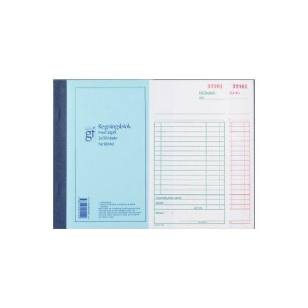 Regningblok m/kopi GF. 10040 108x200mm - 1 stk