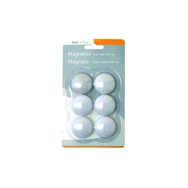 Magneter til whiteboard 30mm hvid - 6 stk.