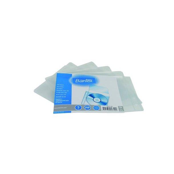 CD-lomme Bantex 2075, til ringbind - 5 stk