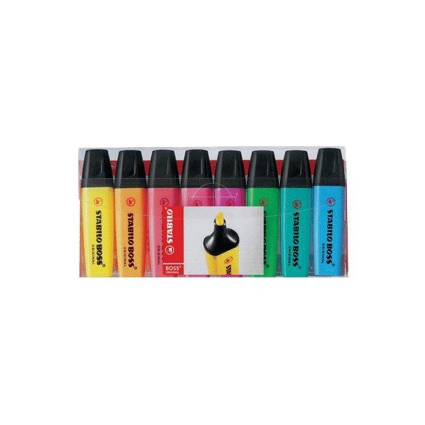Tekstmarker Stabilo Boss - 8 farver