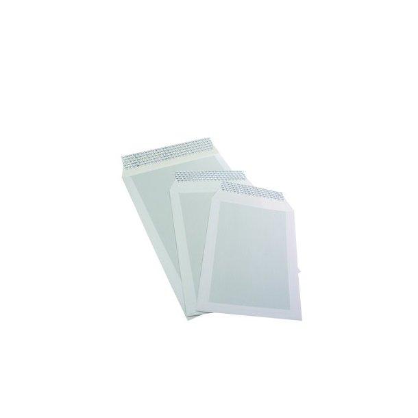 Kuvert med papbagside, hvid 25x35cm - 250 stk