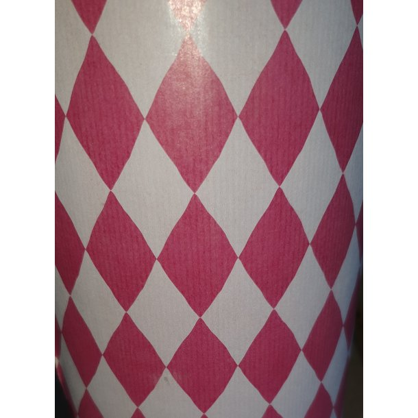 Gavepapir genbrugspapir, harlekin mønster - Rød