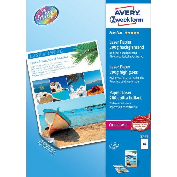 Avery - Laser fotopapir 200g premium glossy, A4 - 100 ark
