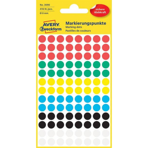 Avery - Farvekodingsdots Ø 8 mm, assorterede farver
