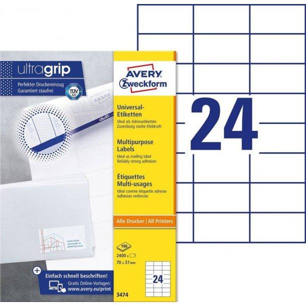 Avery - Universaletiketter 70 x 37 mm, hvid