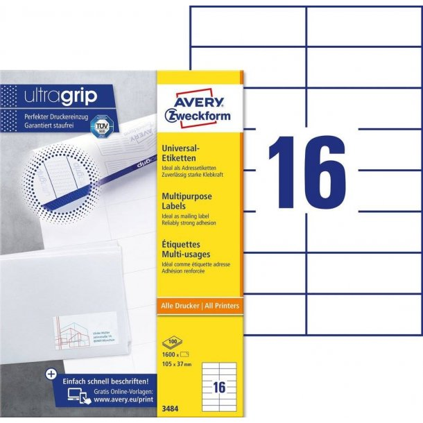 Avery - Universaletiketter 105 x 37 mm, hvid