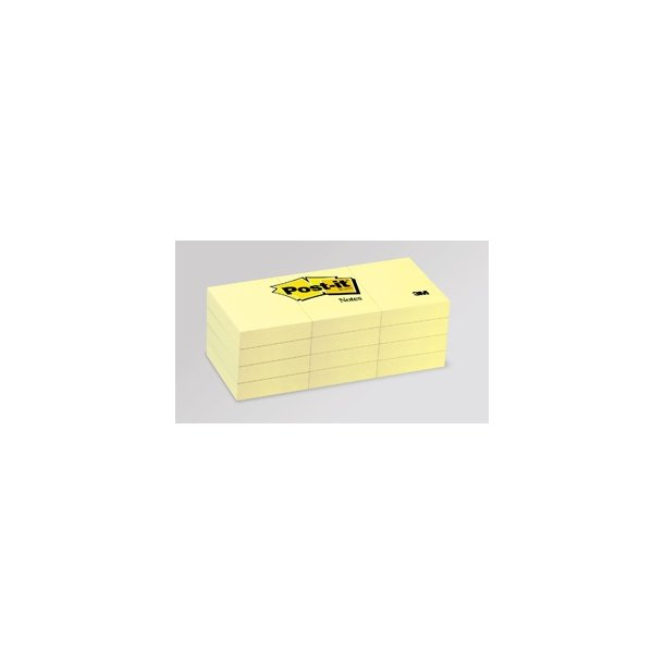 Post-it 653/3 pads, 51 x 38mm, yellow 12 blokke