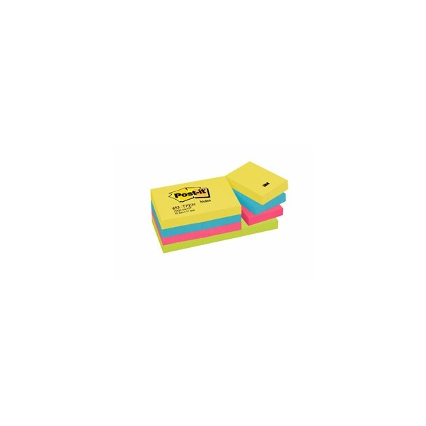 Post-it 653TFEN ENERGETIC, 51 x 38mm coloured 12 blokke