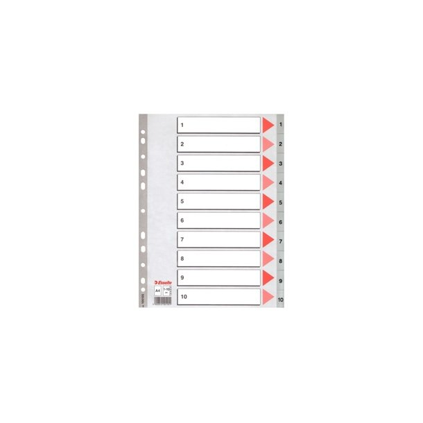 Faneblade PP A4 1-10 Grey 10 stk