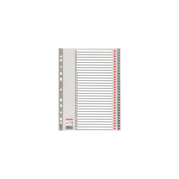 Faneblade - Esselte PP A4 1-31 Grey 10 stk