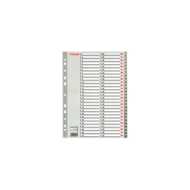 Faneblade - Esselte PP A4 1-54 Grey 10 stk