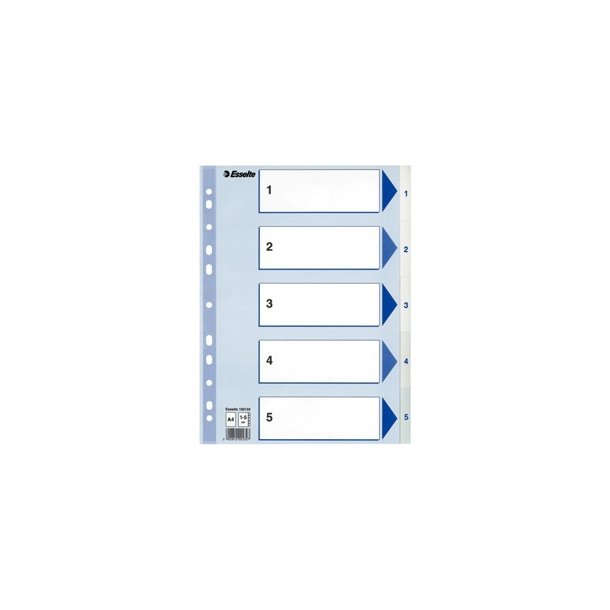 Faneblade - PP A4 1-5 White 20 stk