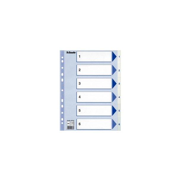 Faneblade - PP A4 1-6 White 20 stk