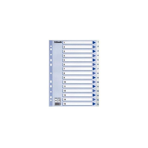 Faneblade - PP A4 1-15 White 10 stk