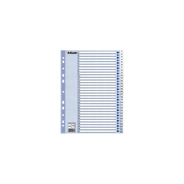 Faneblade - PP A4 1-31 White 10 stk