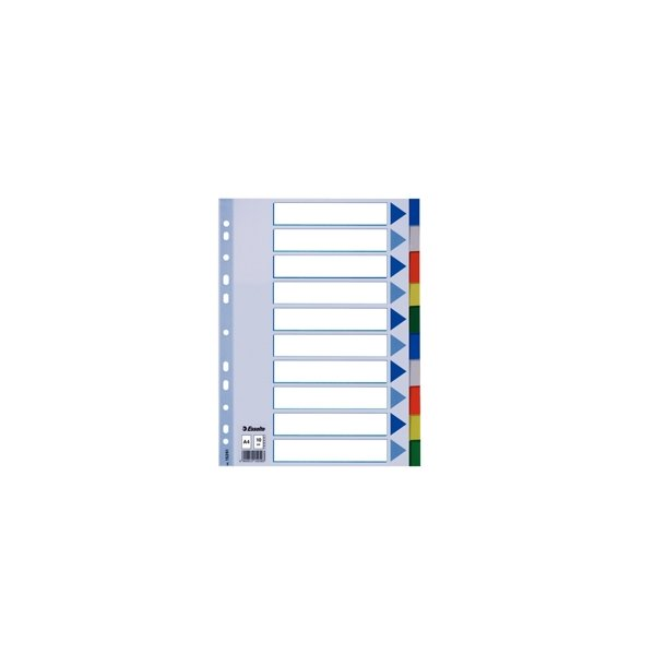 Faneblade - PP A4 10 tabs Multicolour 10 stk