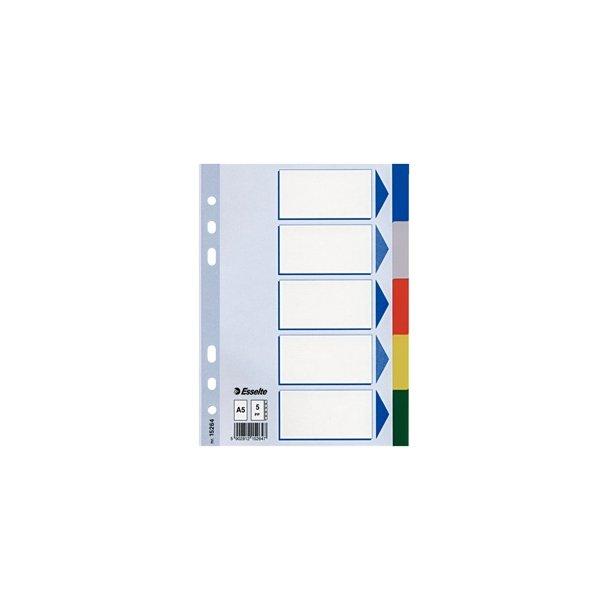 Faneblade - PP A5 5 tabs Multicolour 20 stk