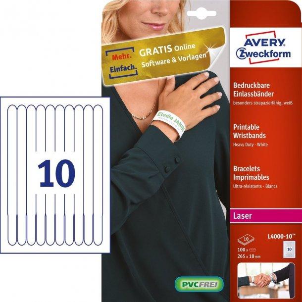 Printbare armbånd, hvide - resistent PVC-frit materiale
