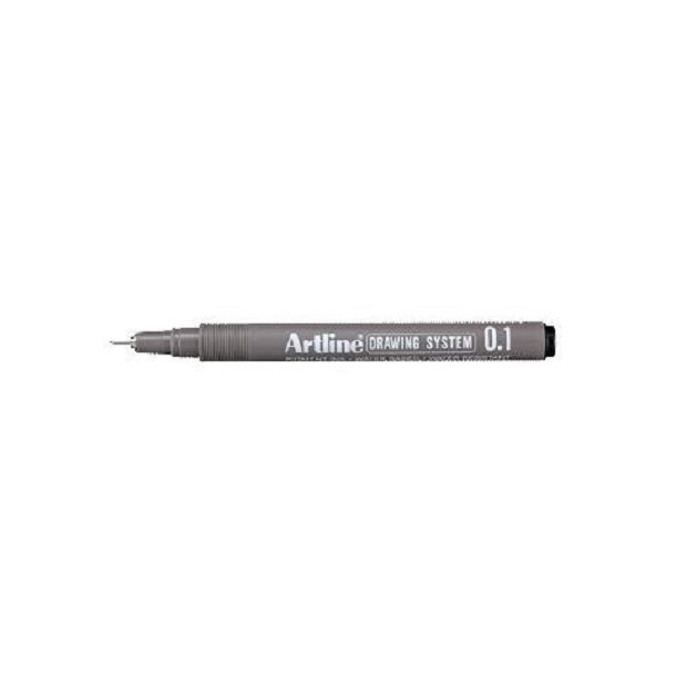 Tegnepen Artline Drawingpen 0,1 mm sort - 12 stk