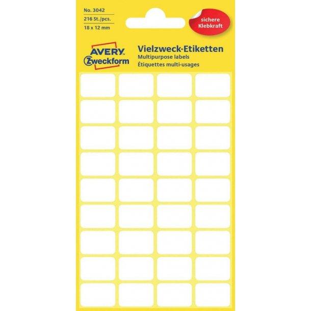 Avery - Etiketter til håndskrivning 18 x 12 mm, permanent - 1 pkk