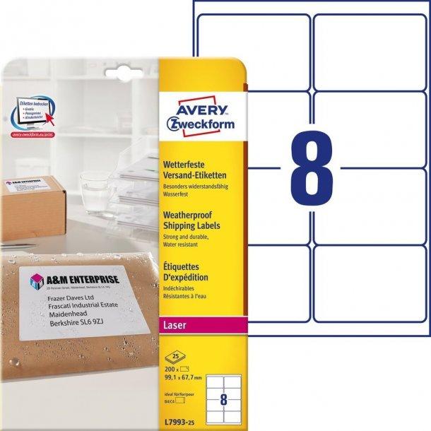 Avery - Vejrbestandige pakkeetiketter 8 stk pr ark