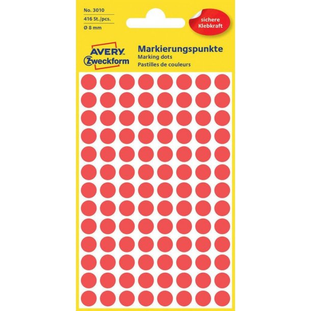 Avery - Farvekodingsdots Til markering, Ø 8 mm, rød - 1 pkk