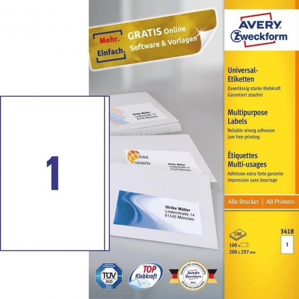 Permanentklæbende universaletiketter - Hvide labels 1stk