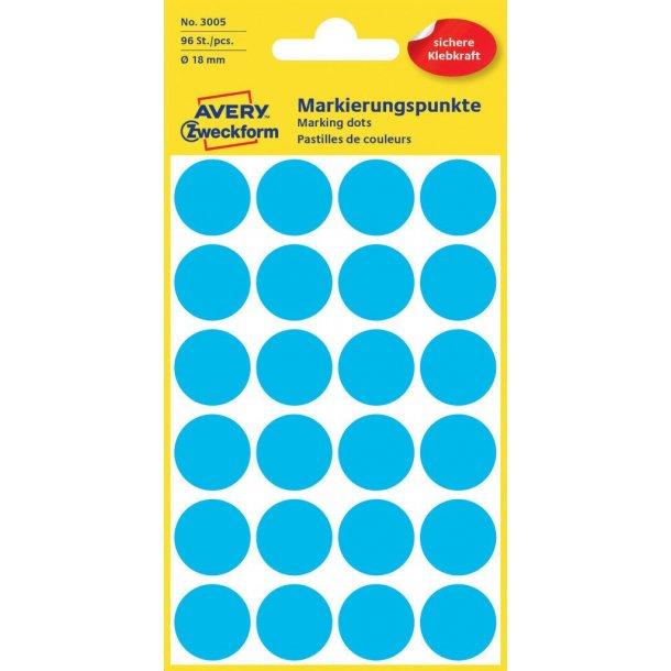 Avery - Farvekodingsdots Til markering, Ø 18 mm, blå - 1 pkk