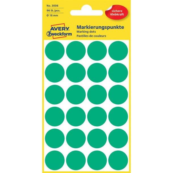 Avery - Farvekodingsdots Til markering, Ø 18 mm, grøn - 1 pkk