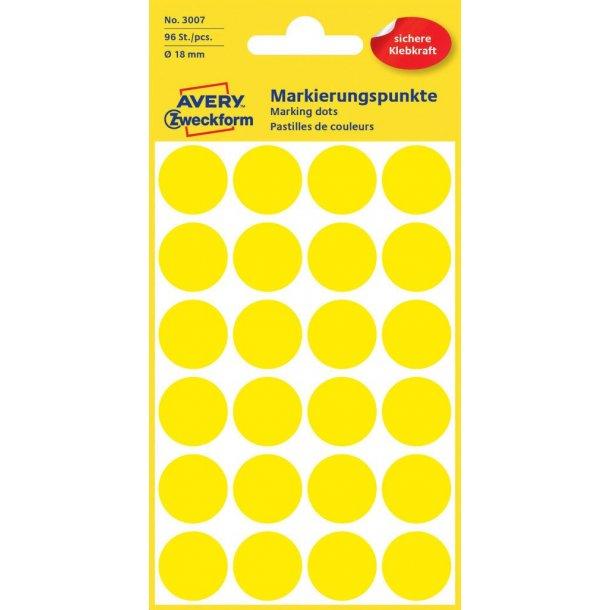 Avery - Farvekodingsdots Til markering, Ø 18 mm, gul - 1 pkk