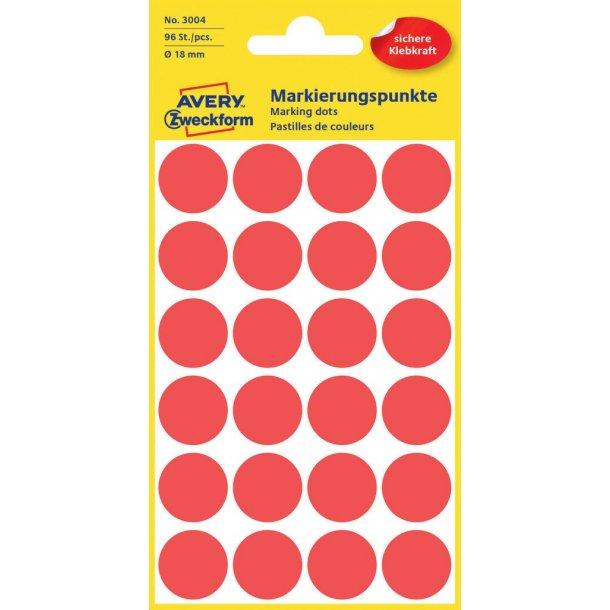 Avery - Farvekodingsdots Til markering, Ø 18 mm, rød - 1 pkk
