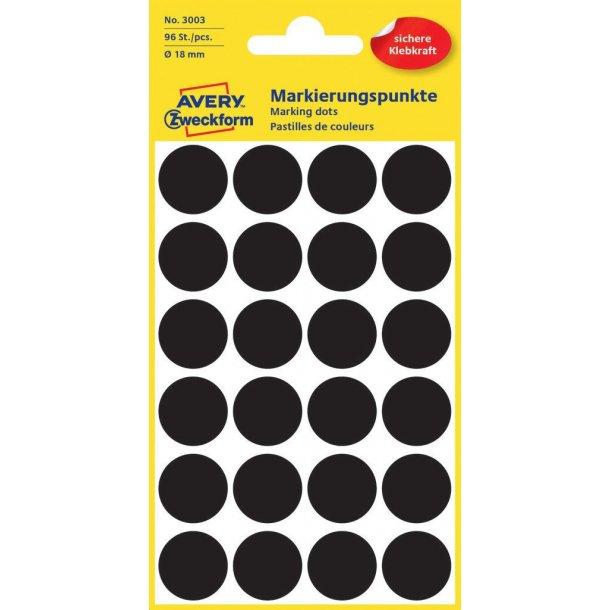 Avery - Farvekodingsdots Til markering, Ø 18 mm, sort - 1 pkk