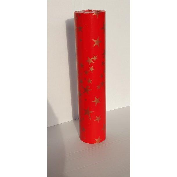 Gavepapir rød med guld stjerner - julepapir