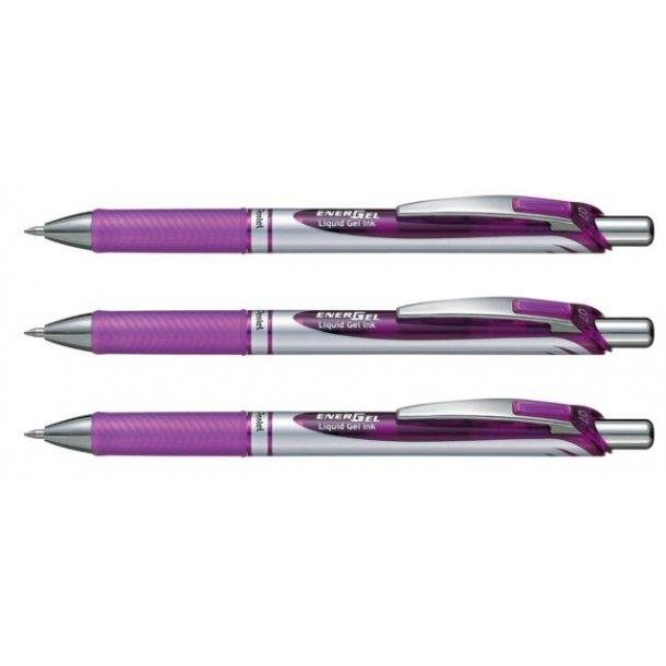 Gelpen Pentel energel violet, BL77 m/trykknap - 12 stk
