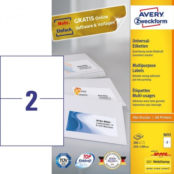 Avery - Universaletiketter White labels 2 stk