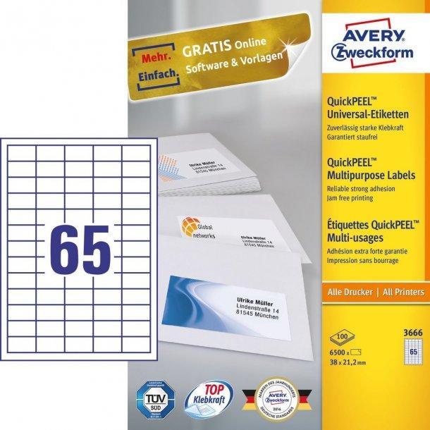 Universaletiketter med QuickPEEL White labels 65 stk