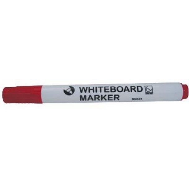Whiteboardmarker rød, m/rundt hoved - 12 stk