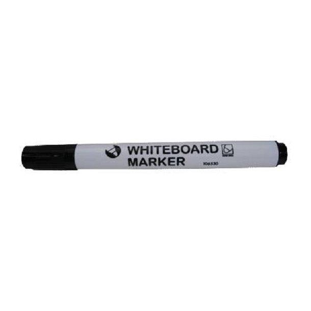 Whiteboardmarker sort, m/rundt hoved - 12 stk