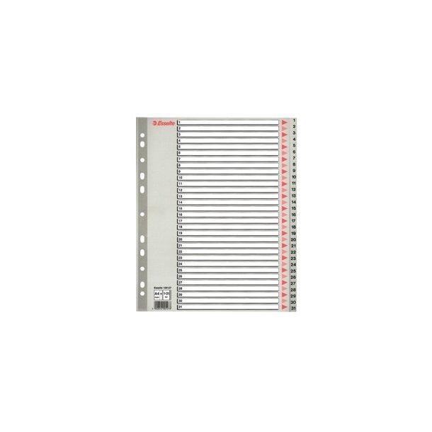Faneblade - PP A4 Maxi 1-31 Grey 10 stk