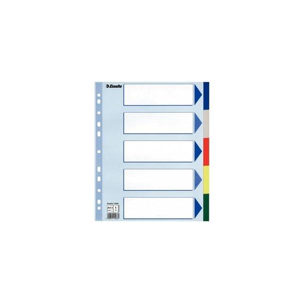 Faneblade - PP A4 Maxi 5 tabs Multicolour 20 stk