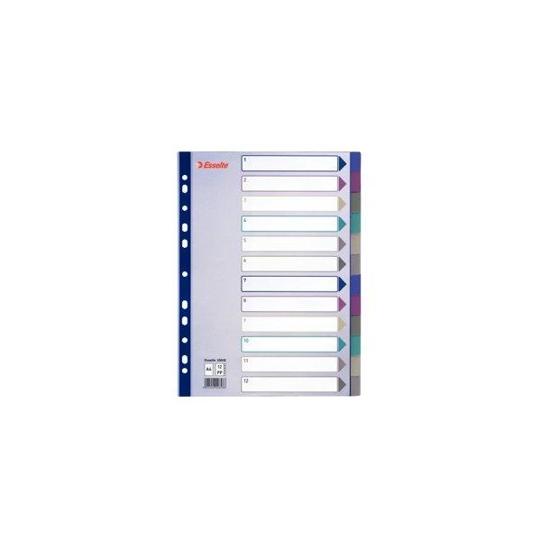 Faneblade - PP A4 12 tabs MC Transparent 10 stk