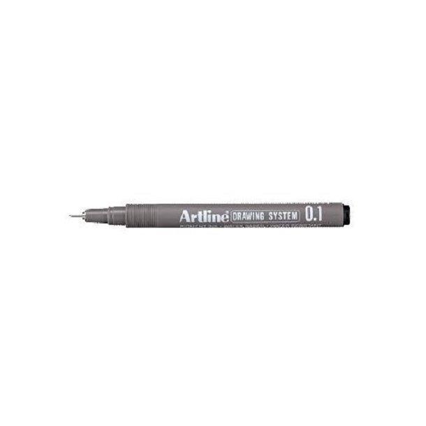 Tegnepen Artline Drawingpen 0,1 mm sort - 12 stk