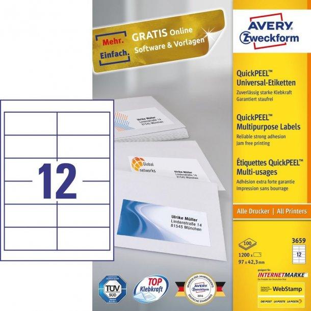 Universaletiketter med QuickPEEL White labels 12 stk.