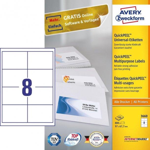 Universaletiketter med QuickPEEL White labels 8 stk