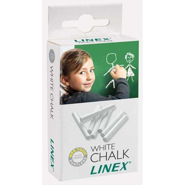 Tavlekridt Linex - hvide, Støvfri - æske med 10 stk