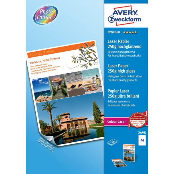 Farvelaser fotopapir 250g premium glossy, A4 - 1 pkk