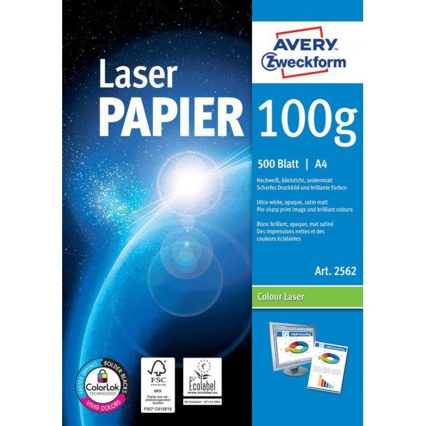 Avery - 100g satin mat, A4, Farvelaser, S/H-laser, Kopimaskine - 1 pkk