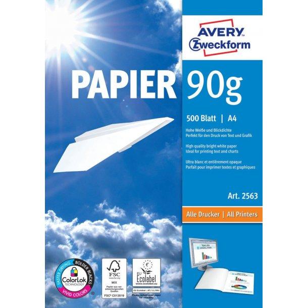 Avery - Inkjet, laser & kopi papir 90g A4 - 500 ark
