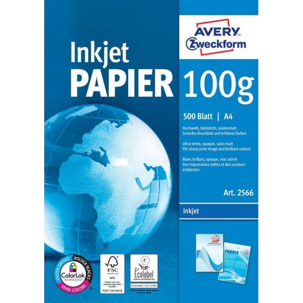 Avery - Inkjet papir 100g mat, A4 - 500 ark