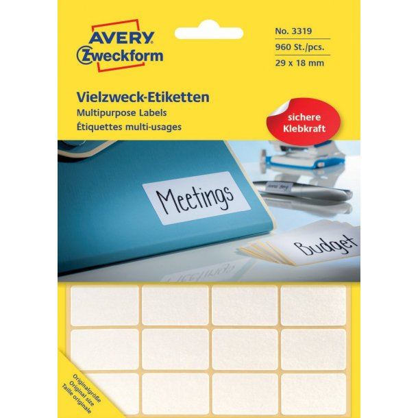 Avery - Etiketter til håndskrivning 39 x 18 - 1 pkk